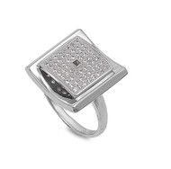 Designer Square Pave Cubic Zirconia Ring Sterling Silver 925