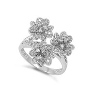 Three Flower Cubic Zirconia Ring Sterling Silver 925