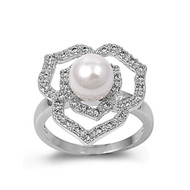 Adonis Flower Simulated Pearl Cubic Zirconia Ring Sterling Silver 925