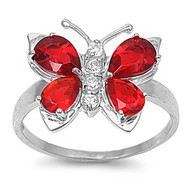 Butterfly Hera Simulated Ruby Cubic Zirconia Ring Sterling Silver 925
