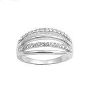 Alternating Bars Cubic Zirconia Ring Sterling Silver 925