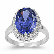 Halo Simulated Opal Simulated Tanzanite Cubic Zirconia Ring Sterling Silver 925