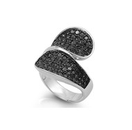Designer Pave Black Cubic Zirconia Ring Sterling Silver 925