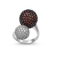 Designer Pave Ball Champagne Cubic Zirconia Ring Sterling Silver 925