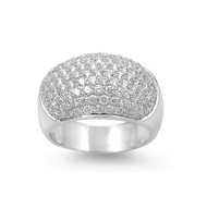 Pave Cubic Zirconia Ring Sterling Silver 925