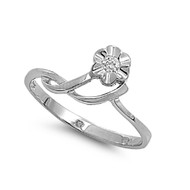 Designer Abstraction Flower Cubic Zirconia Ring Sterling Silver 925