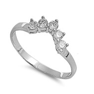Pointed V Quin Stones Cubic Zirconia Ring Sterling Silver 925