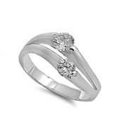 Duality Cubic Zirconia Ring Sterling Silver 925