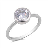 Solitaire Round Cubic Zirconia Sterling Silver 925