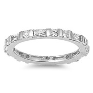 Alternating Eternity Cubic Zirconia Ring Sterling Silver 925