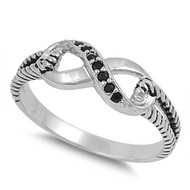 Adoration Infinity Black Cubic Zirconia Ring Sterling Silver 925