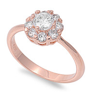 Rose Gold-Tone Plated Flower Cubic Zirconia Ring Sterling Silver 925