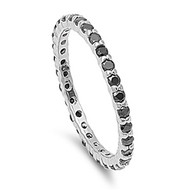 Eternity Black Cubic Zirconia Ring Sterling Silver 925