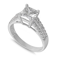 Designer Princess Cut Center Cubic Zirconia Ring Sterling Silver 925