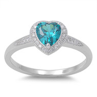 Accented Heart Center Blue Simulated Topaz Cubic Zirconia Ring Sterling Silver 925