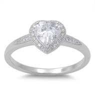 Accented Heart Center Cubic Zirconia Ring Sterling Silver 925