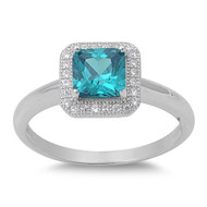 Accented Princess Cut Center Blue Simulated Topaz Cubic Zirconia Ring Sterling Silver 925