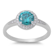 Accented Round Blue Simulated Topaz Cubic Zirconia Ring Sterling Silver 925