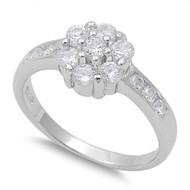 Accented Flower Cluster Center Cubic Zirconia Ring Sterling Silver 925