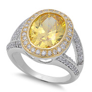 Accented Bezel Center Yellow Simulated Topaz Cubic Zirconia Ring Sterling Silver 925