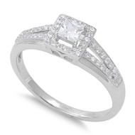 Accented Quadrate Princess Cut Cubic Zirconia Ring Sterling Silver 925
