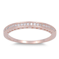 Half Way Eternity Round Cubic Zirconia Ring Rose Gold- Tone Plated Sterling Silver 925
