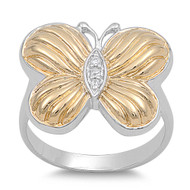 Gold-Tone Butterfly Cubic Zirconia Ring Sterling Silver 925