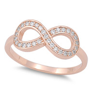 Infinity Eternity Cubic Zirconia Ring Rose Gold-Tone Plated Sterling Silver 925
