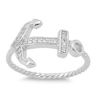 Anchor of My Soul Cubic Zirconia Ring Sterling Silver 925