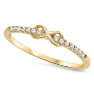 Yellow Gold-Tone Plated Through Infinity Cubic Zirconia Ring Sterling Silver 925