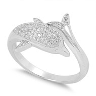 Dolphin Cubic Zirconia Ring Sterling Silver 925