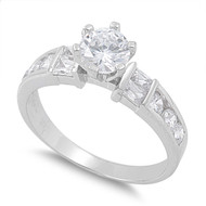 Accent Prong Bar and Channel Fusion Cubic Zirconia Ring Sterling Silver 925