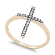 Yellow Gold-Tone Plated Pave Cross Ring Sterling Silver 925