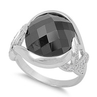 Accent Round Bezel Faceted Black Cubic Zirconia Ring Sterling Silver 925