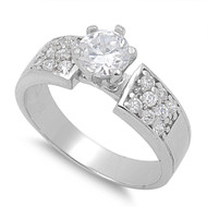Accent Round Prong Pave Cubic Zirconia Ring Sterling Silver 925