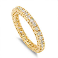 Yellow Gold-Tone Plated Stackable Eternity Round Cubic Zirconia Ring Sterling Silver 925