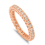 Rose Gold-Tone Plated Stackable Eternity Round Cubic Zirconia Ring Sterling Silver 925
