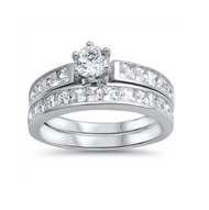 Round Cut Cubic Zirconia Engagement WeddingRing Sterling Silver 925