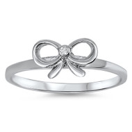 Solitaire Ribbon Cubic Zirconia Ring Sterling Silver 925