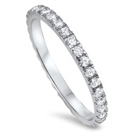 Rhodium Plated Stackable Eternity Cubic Zirconia Ring Sterling Silver 925
