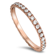 Rose Gold-Tone Plated Stackable Eternity Cubic Zirconia Ring Sterling Silver 925