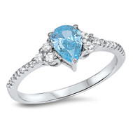 Classic Designer Pear Simulated Aquamarine Cubic Zirconia Ring Sterling Silver 925