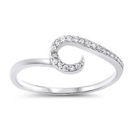 Wave Cubic Zirconia Ring Sterling Silver 925