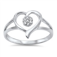 Precious One Heart Cubic Zirconia Ring Sterling Silver 925
