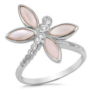 Dragonfly Cubic Zirconia With Simulated Opal Designer Ring Sterling Silver 925