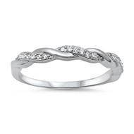 Alternate Braid Cubic Zirconia Ring Sterling Silver 925