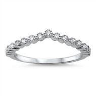 Tiara Crown Cubic Zirconia Ring Sterling Silver 925