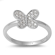 Butterfly Cubic Zirconia Ring Sterling Silver 925