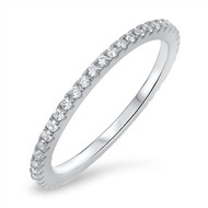 Classic One Channel Pave Cubic Zirconia Ring Sterling Silver 925