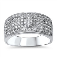 Six Pave Rows Cubic Zirconia Ring Sterling Silver 925